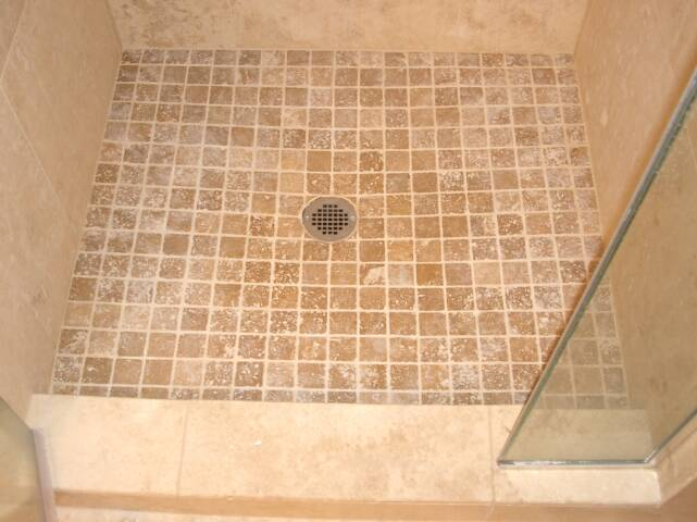Travertine Shower Pan With Noce 2 X On Floor Integrity Tile And Stone  Bathroom Gallery